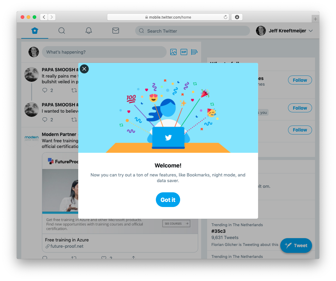 Twitter.com shows a banner exclaiming I'm switched to a redesign with new features.
