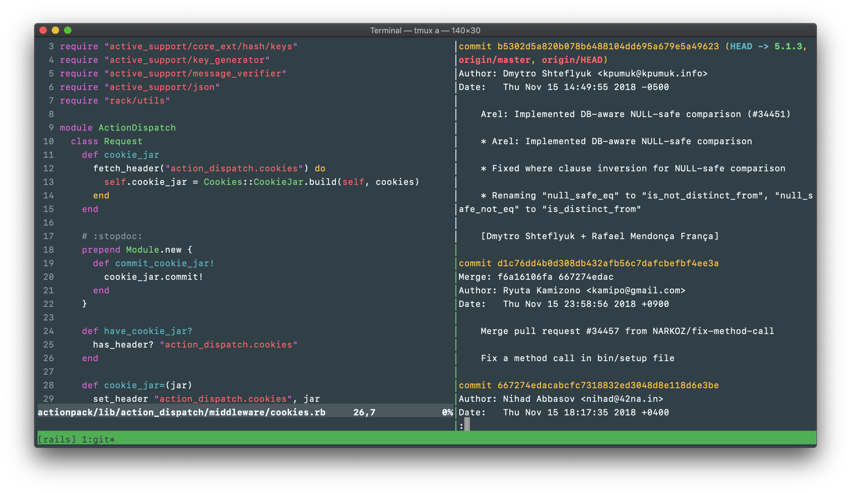 A screenshot showing NeoVim and a git diff in tmux, colored with appsignal.terminal's dark version.